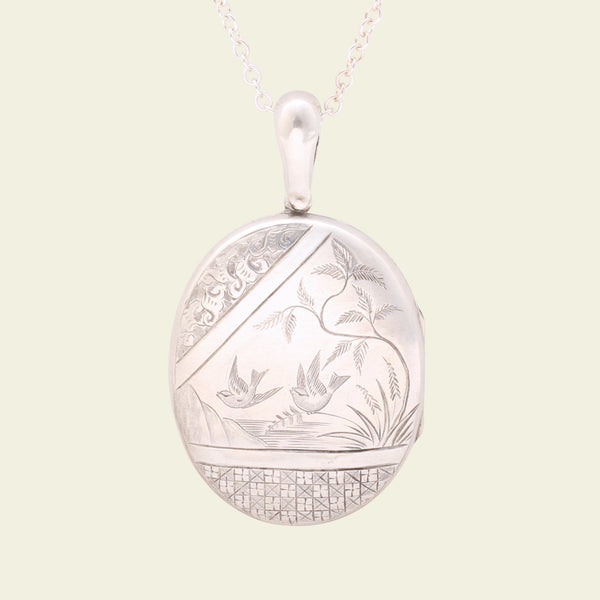 Large Silver Aesthetic Movement Bird Locket