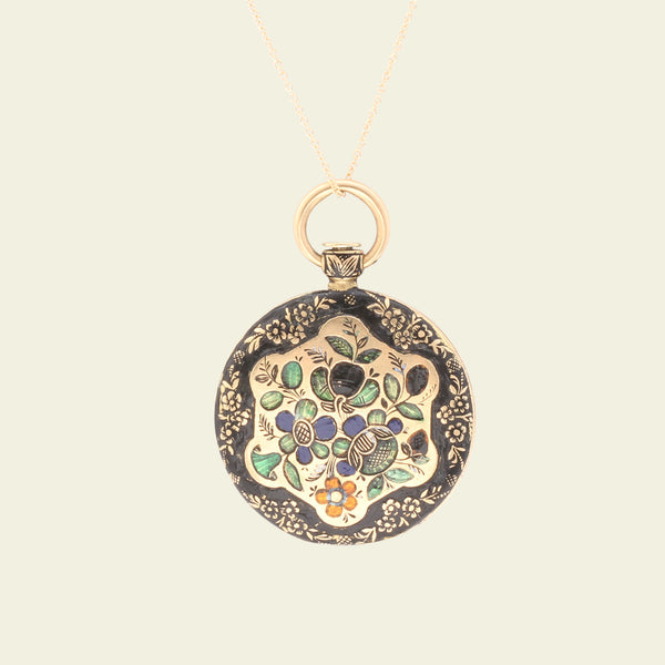Victorian Enameled Flora and Fauna Gold Locket