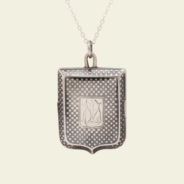 "Victorian Niello Silver Shield-Shaped Locket with ""LM"" Monogram"