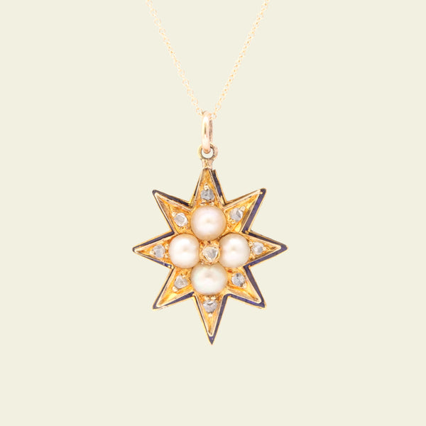 Victorian Large Eight Point Gold and Enamel Star with Pearls and Rose Cuts