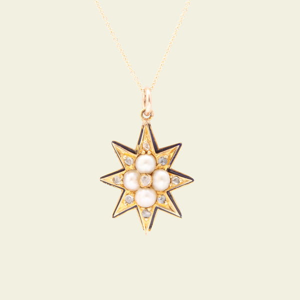 Victorian Small Eight Point Gold and Enamel Star with Pearls and Rose Cuts
