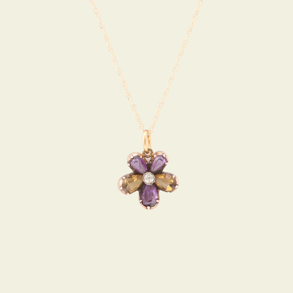 Amethyst, Citrine and Diamond Victorian Pansy Pendant