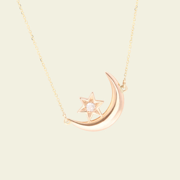 Victorian Crescent Moon and Diamond Star Necklace