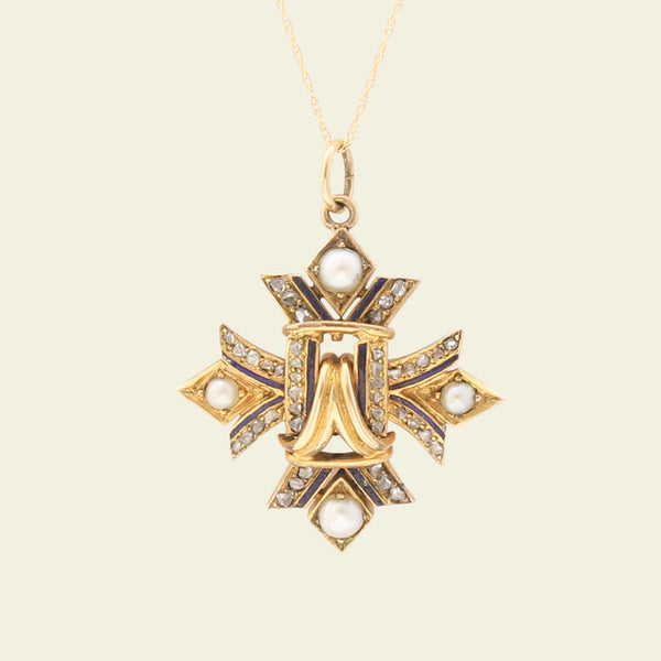 Victorian Cruciform Pendant with Pearls, Rose Cut Diamonds and Enamel
