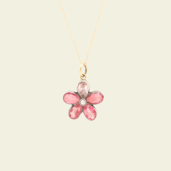 Georgian Pink Paste and Pearl Pansy Necklace