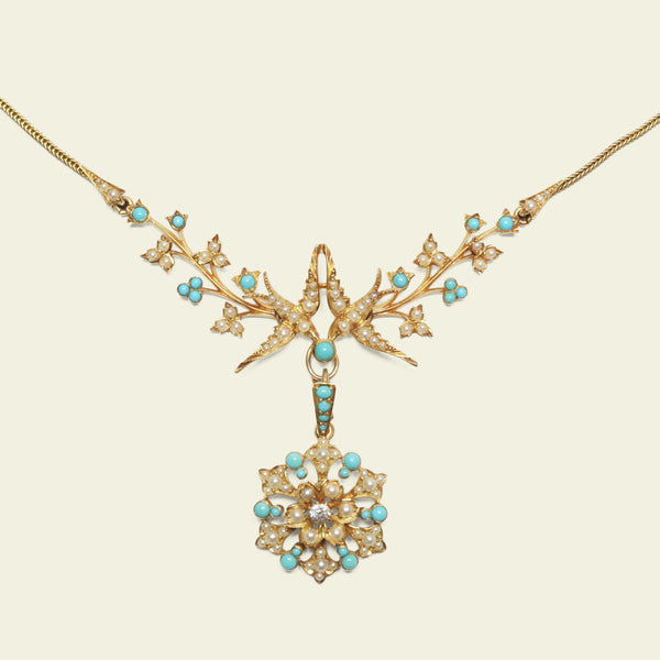 Victorian Turquoise, Seed Pearl, and Diamond Lovebirds Necklace