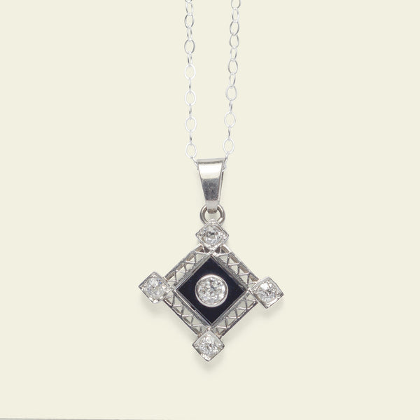 Platinum Art Deco Onyx and Diamond Pendant