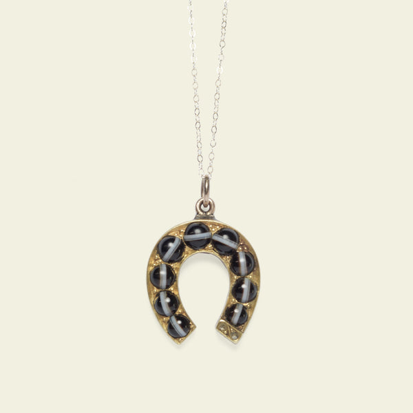 Victorian Banded Agate and Diamond Horseshoe Necklace