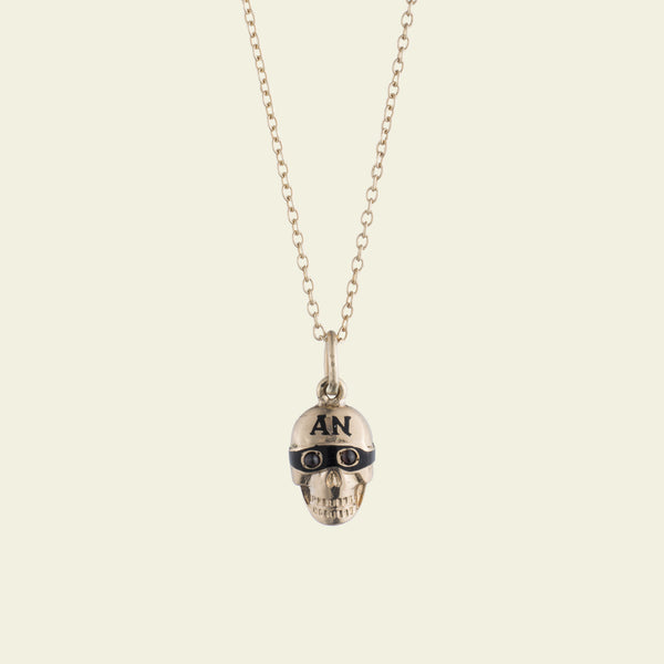 1920s Alpha Nu Sorority Bandit Skull Necklace