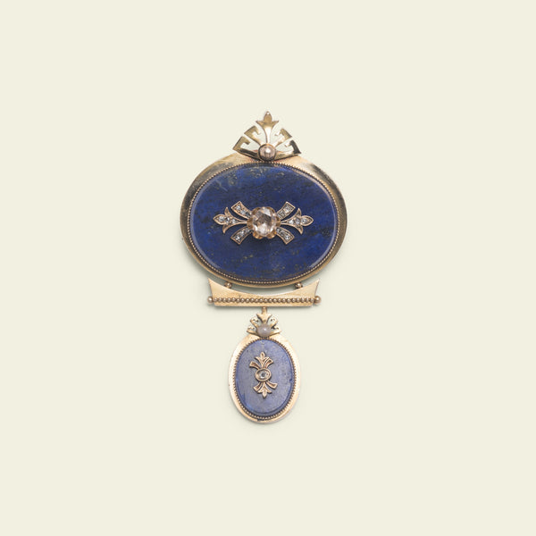 Victorian Lapis Lazuli and Rose Cut Diamond Pendant Brooch