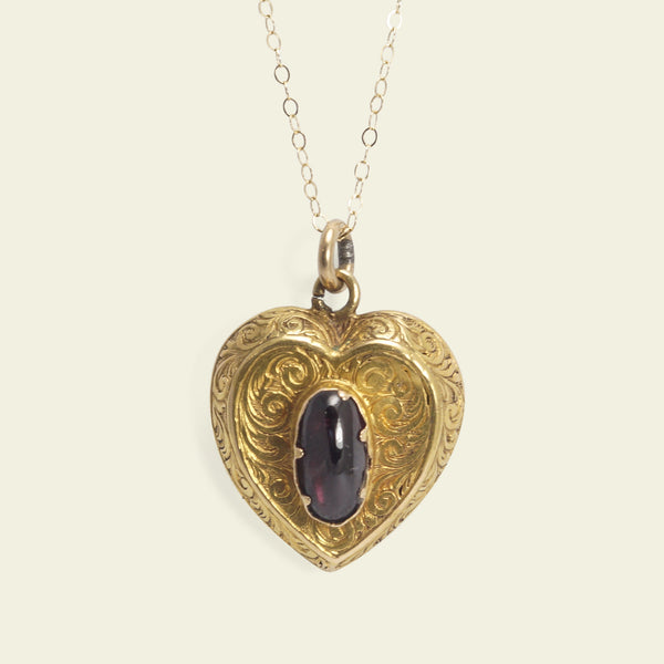 Victorian Chased Heart with Garnet Cabochon and Locket Back