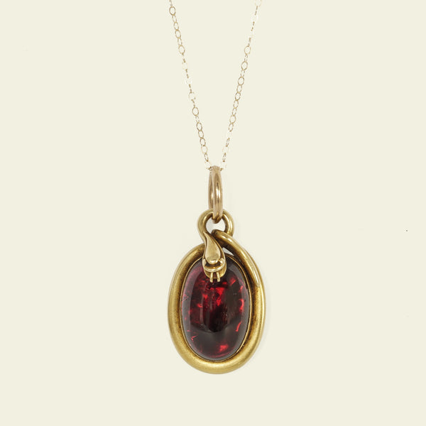 Georgian Coiled Snake and Garnet Pendant