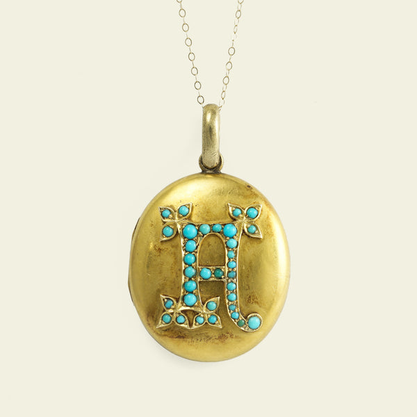 "Victorian Turquoise ""A"" Locket Necklace"