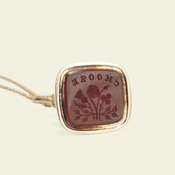 "Victorian Carnelian ""Choose"" Intaglio Fob Necklace"