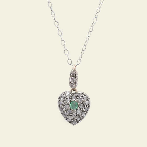 Victorian Emerald and Rose Cut Diamond Heart Pendant