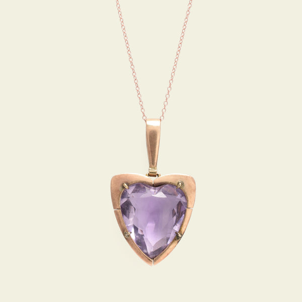 Arts & Crafts Amethyst Heart Pendant