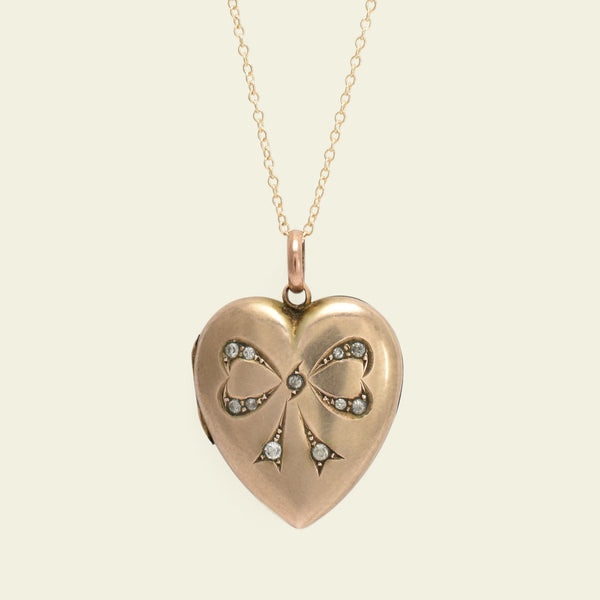 Victorian Heart Locket with Paste Bow