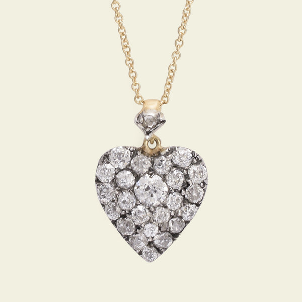 Victorian Old Mine Cut Diamond Heart Pendant