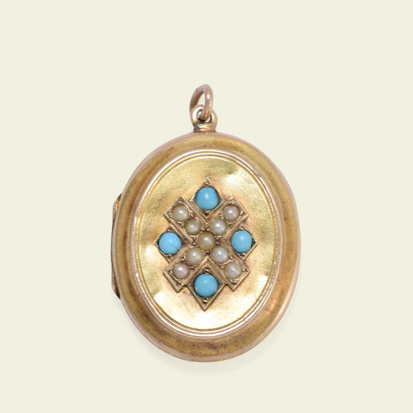 "Victorian Pearl ""X"" and Turquoise Locket"