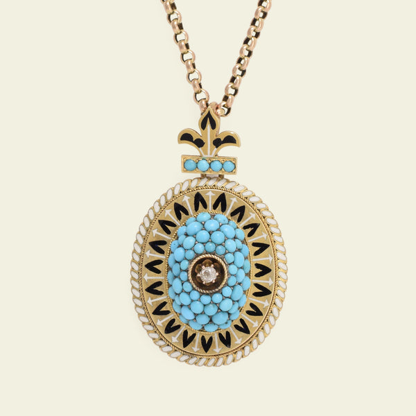 Victorian Fleur de Lis Turquoise, Enamel, and Diamond Locket Necklace