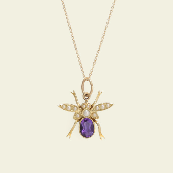 Victorian Amethyst and Seed Pearl Fly Necklace