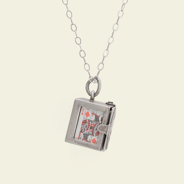Vintage Silver Box of Playing Cards Charm Necklace
