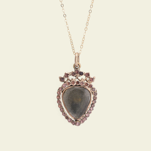 Georgian Garnet Crowned Heart Locket