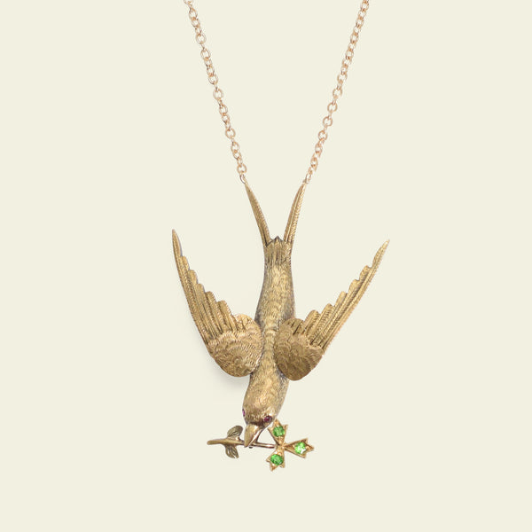 Victorian Swallow Necklace with Almandine and Demantoid Garnets