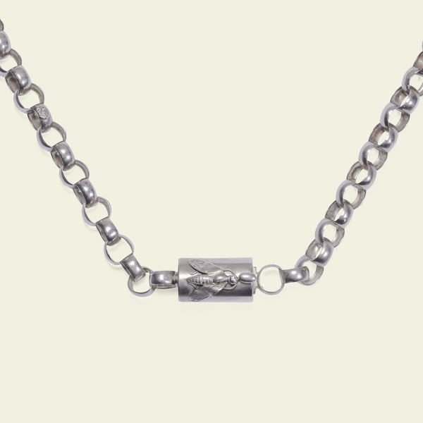 Early Victorian Silver Chain with Bee Barrel Clasp