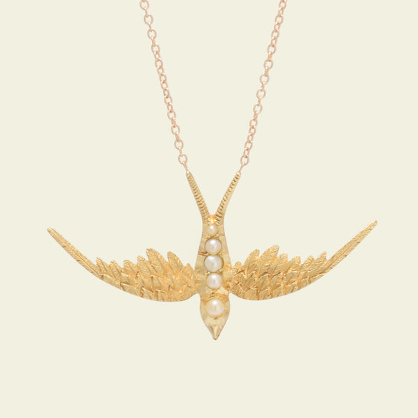Edwardian Pearl Swallow Necklace