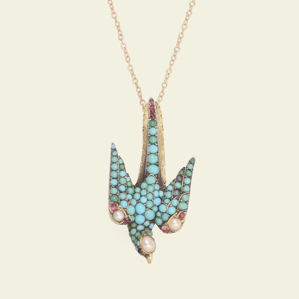 Victorian Turquoise, Garnet and Pearl Peregrine Falcon Necklace
