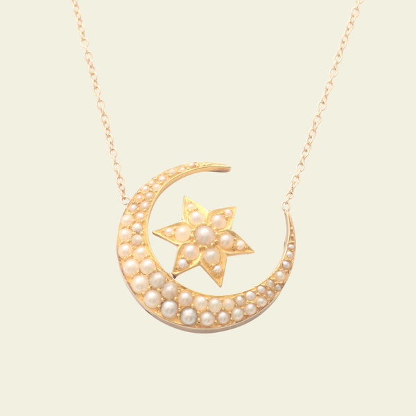 Victorian Moon and Star Necklace