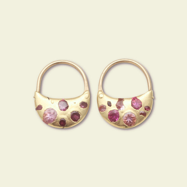 Pink Sapphire Crescent Hoops