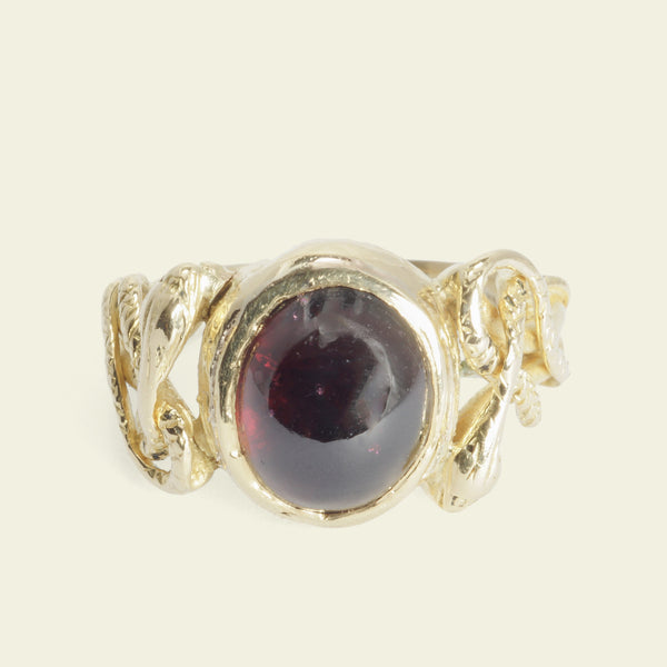 Georgian Garnet Ring with Coiled Snake Shoulders