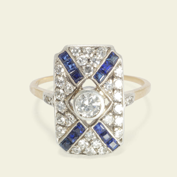Deco X Diamond and Sapphire Ring
