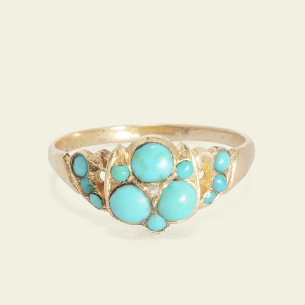 Victorian Trefoil Turquoise and Diamond Cluster Ring