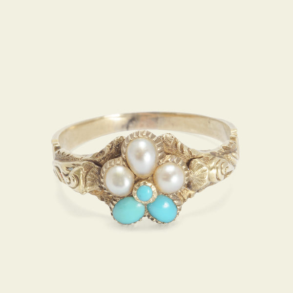 Early Victorian Turquoise and Pearl Pansy Ring