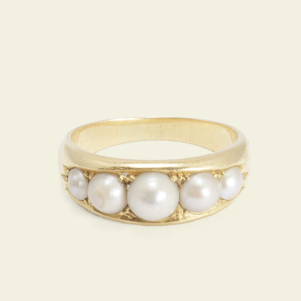 Victorian Graduated Five Pearl Ring