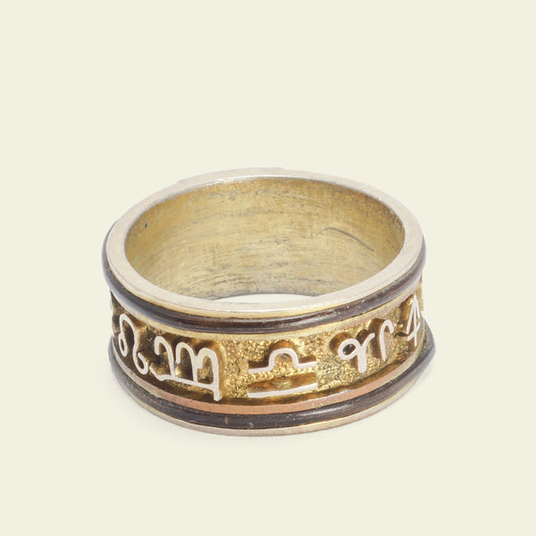 Victorian Silver-Gilt Elephant Hair Ring with Signs of the Zodiac