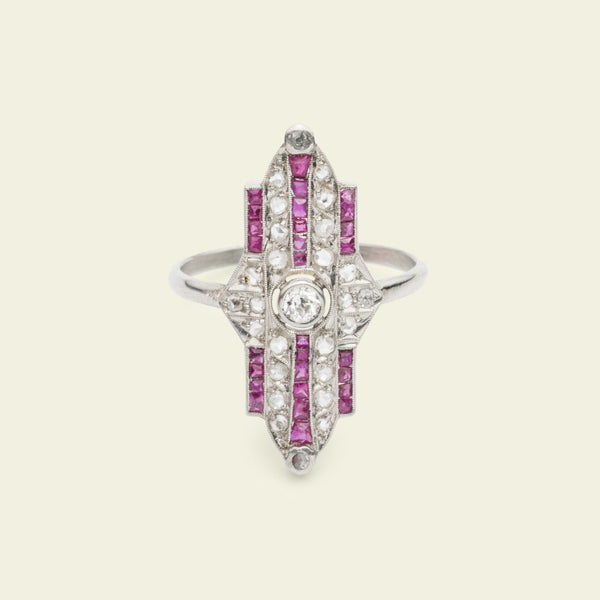 Art Deco Architectural Ruby and Diamond Cocktail Ring