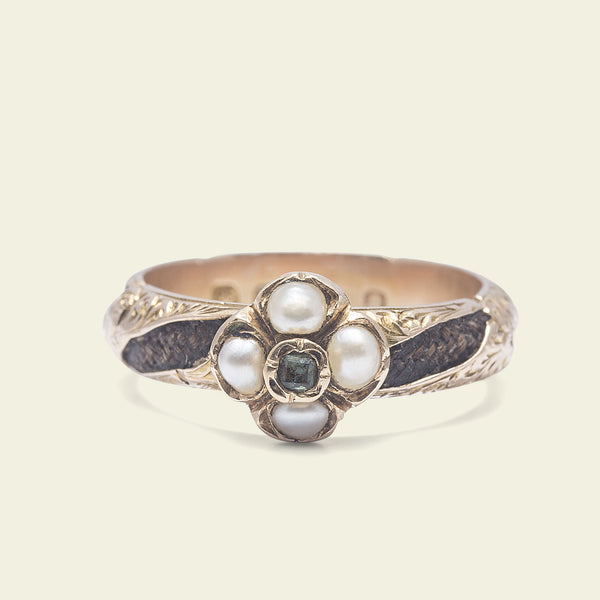 Victorian Pearl and Rock Crystal Mourning Ring