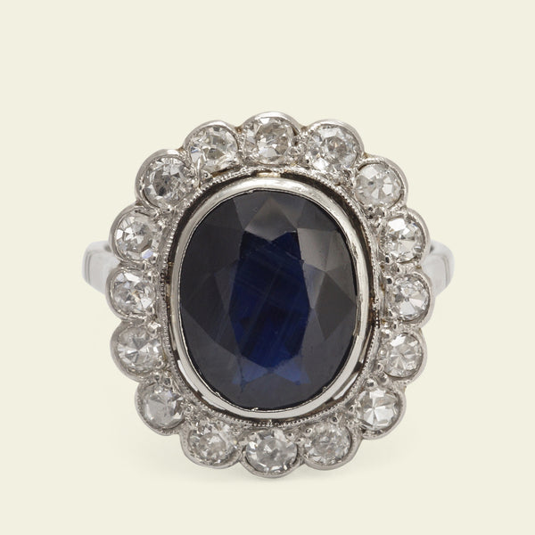 Edwardian 3ct Sapphire and Old Cut Diamond Cluster Ring