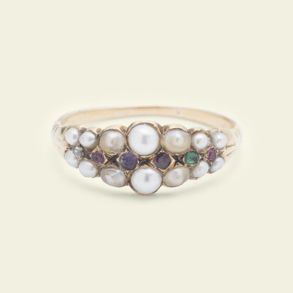 Georgian REGARD Ring with Seed Pearls