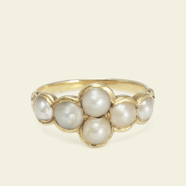 Early Victorian Six Pearl Ring