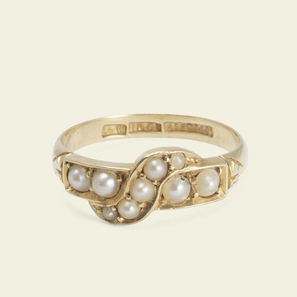 Victorian Pearl Crossover Ring