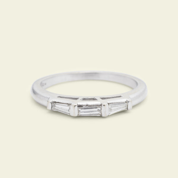 Vintage 14k White Gold Three Baguette Wedding Band