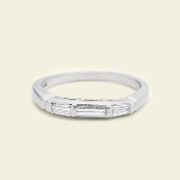 Deco Three Baguette Platinum Wedding Band