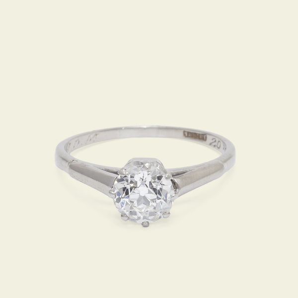Deco .94ct Old European Cut Diamond Solitaire
