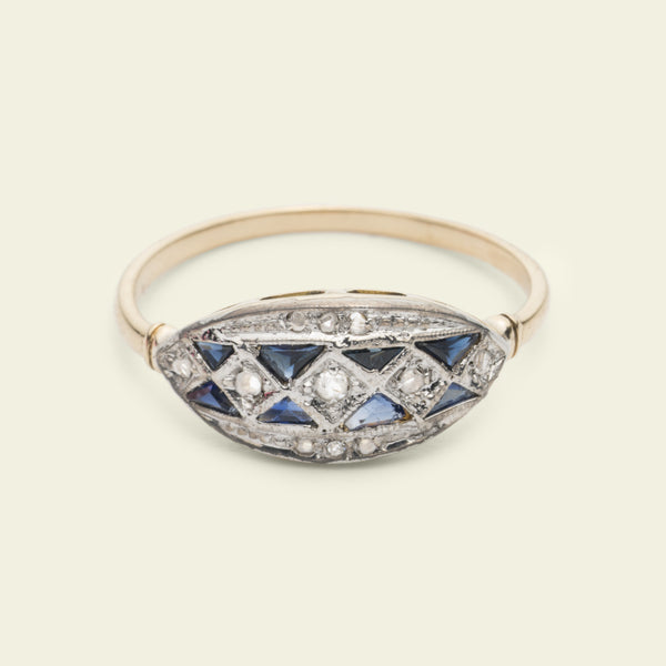 French Deco Diamond and Sapphire Mosaic Ring