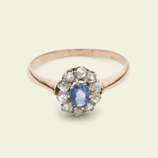Victorian Sapphire and Rose Cut Diamond Oval Cluster Ring